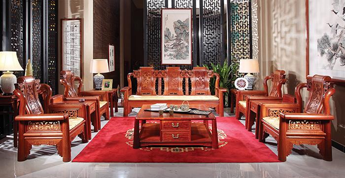 国寿红木花梨木家具均100%使用全缅甸花梨木